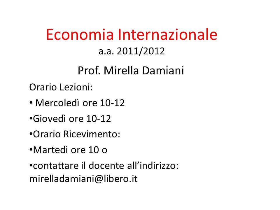 Economia Internazionale a.a. 2011/2012