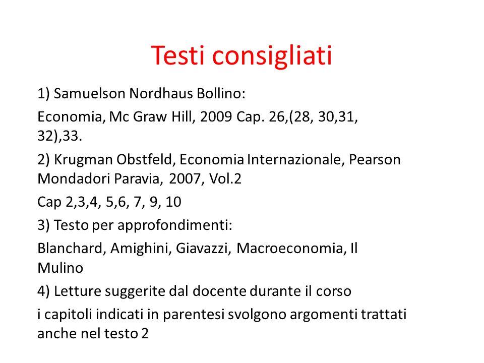 Testi consigliati 1) Samuelson Nordhaus Bollino: