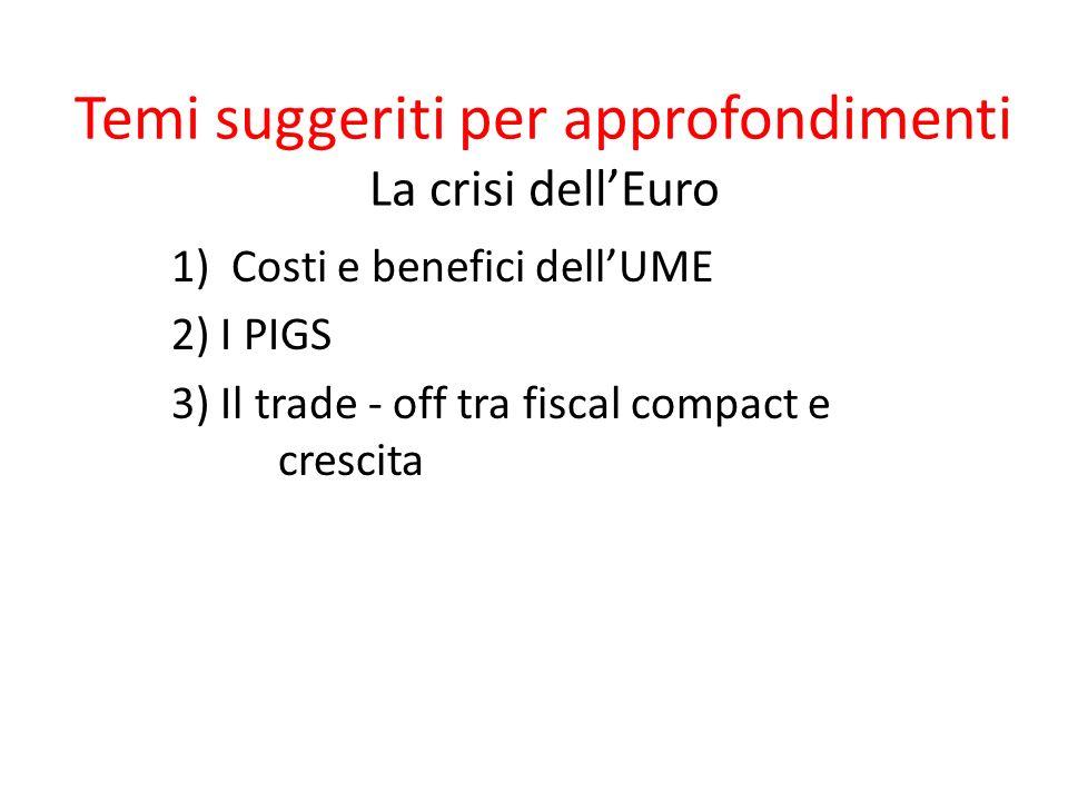 Temi suggeriti per approfondimenti La crisi dell'Euro