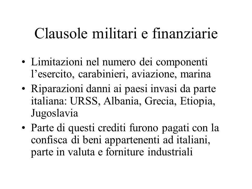 Clausole militari e finanziarie
