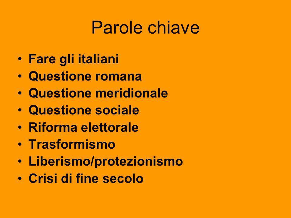 Parole chiave Fare gli italiani Questione romana Questione meridionale