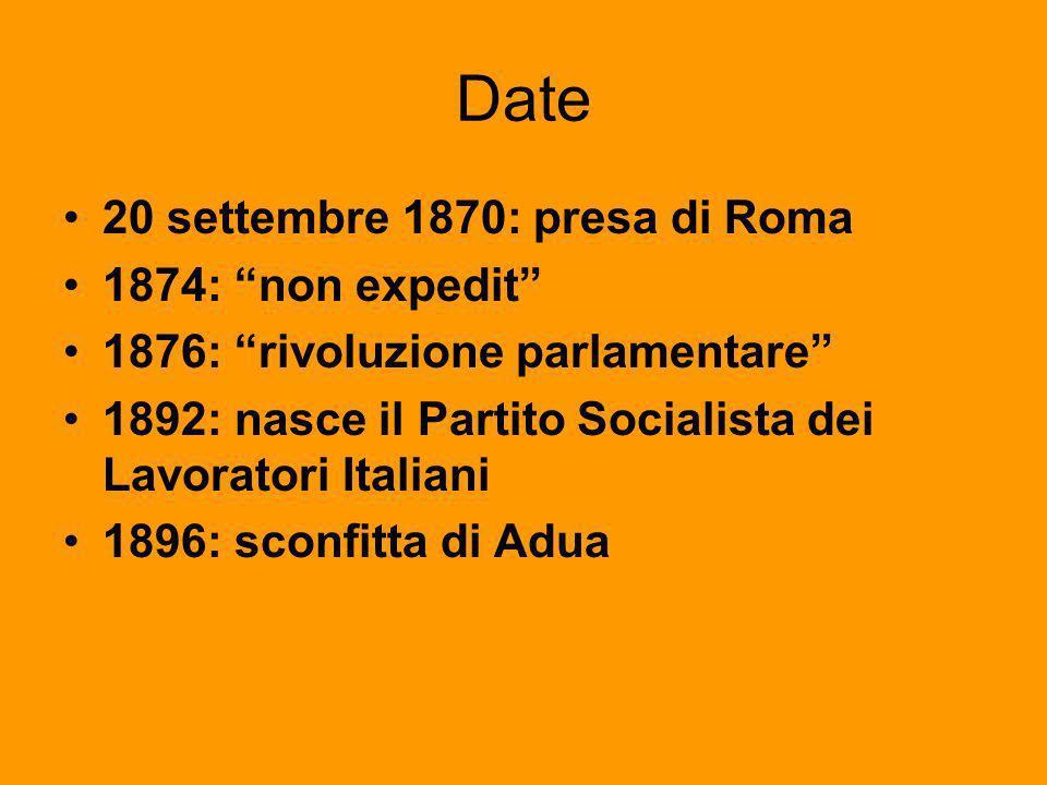 Date 20 settembre 1870: presa di Roma 1874: non expedit
