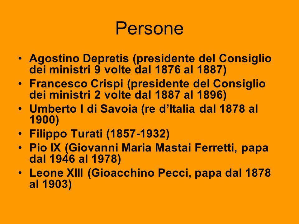 PersoneAgostino Depretis (presidente del Consiglio dei ministri 9 volte dal 1876 al 1887)