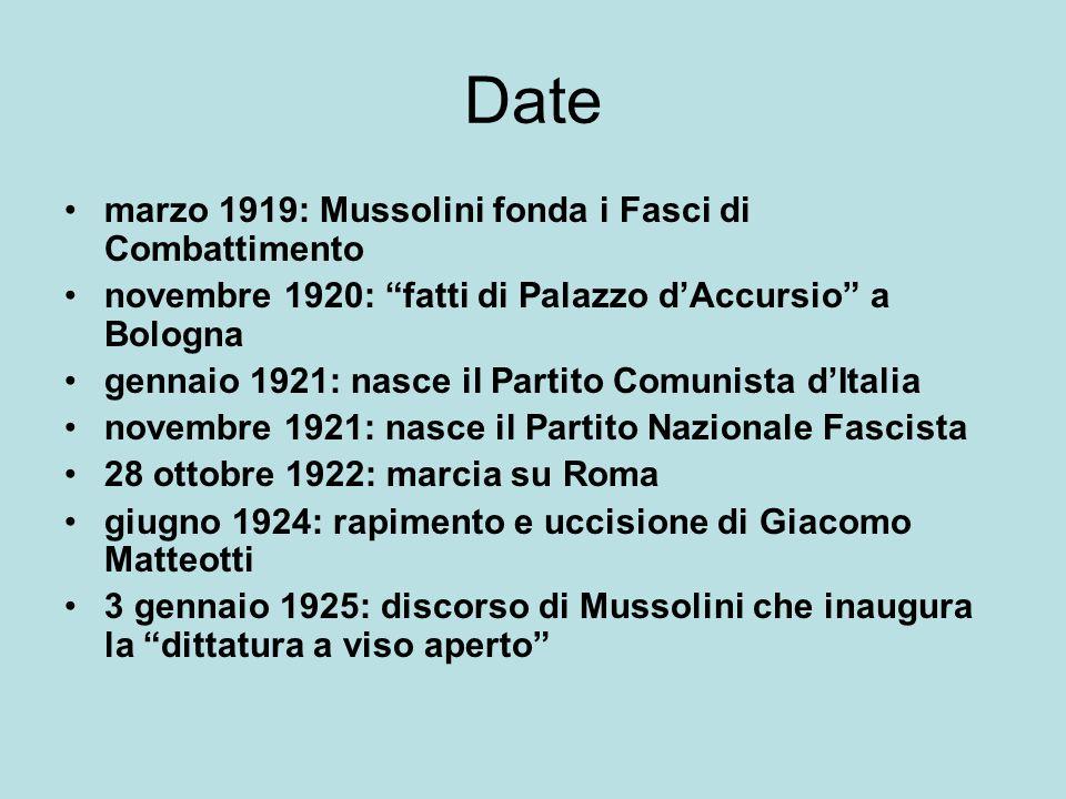 Date marzo 1919: Mussolini fonda i Fasci di Combattimento
