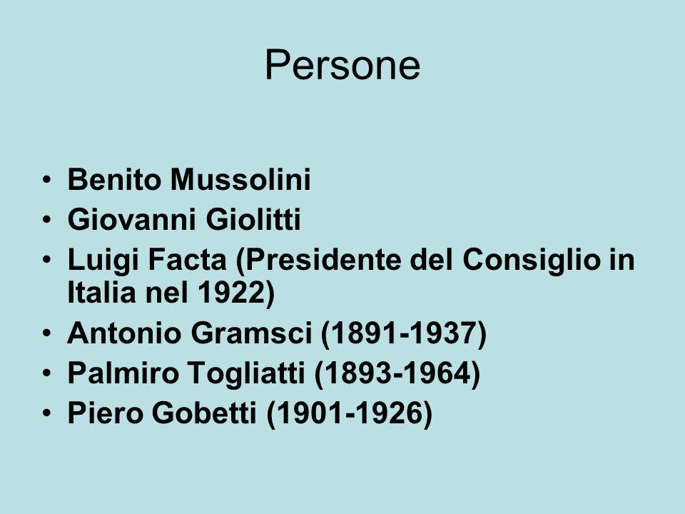 Persone Benito Mussolini Giovanni Giolitti