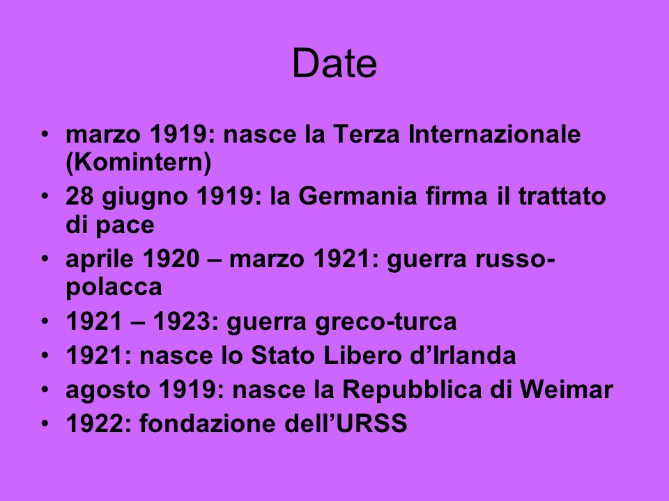Date marzo 1919: nasce la Terza Internazionale (Komintern)