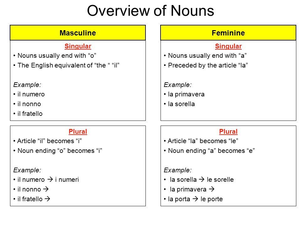Overview of Nouns Masculine Feminine Singular