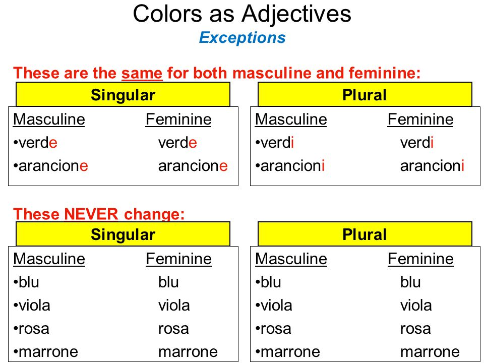 Colors as Adjectives Exceptions
