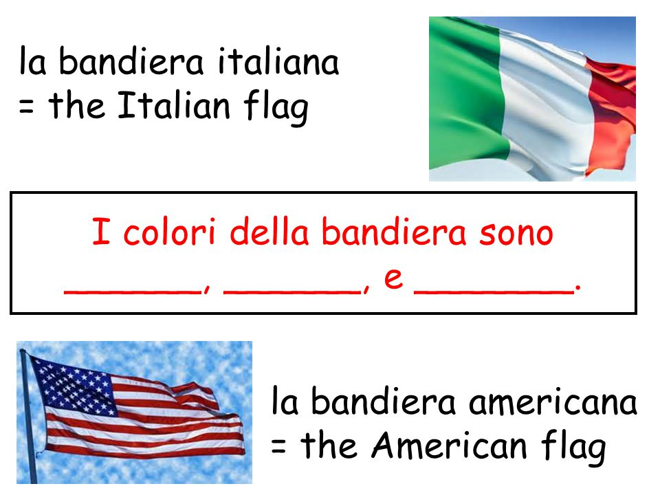 la bandiera italiana = the Italian flag