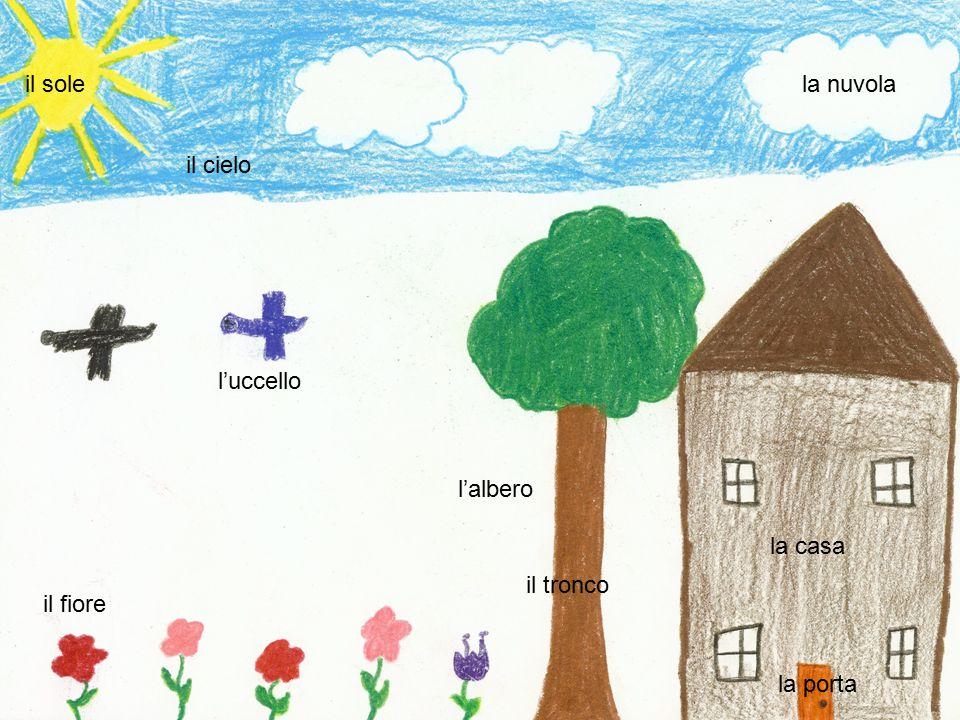 il sole la nuvola il cielo l'uccello l'albero la casa il tronco il fiore la porta