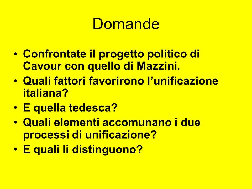 Domande Confrontate il progetto politico di Cavour con quello di Mazzini. Quali fattori favorirono l'unificazione italiana