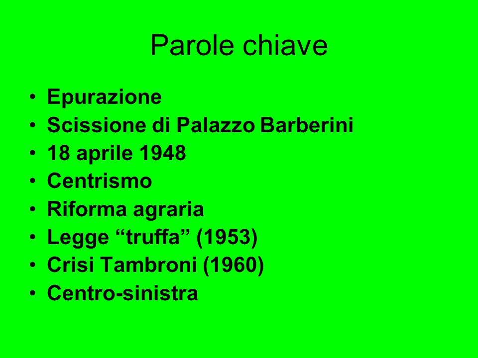 Parole chiave Epurazione Scissione di Palazzo Barberini 18 aprile 1948