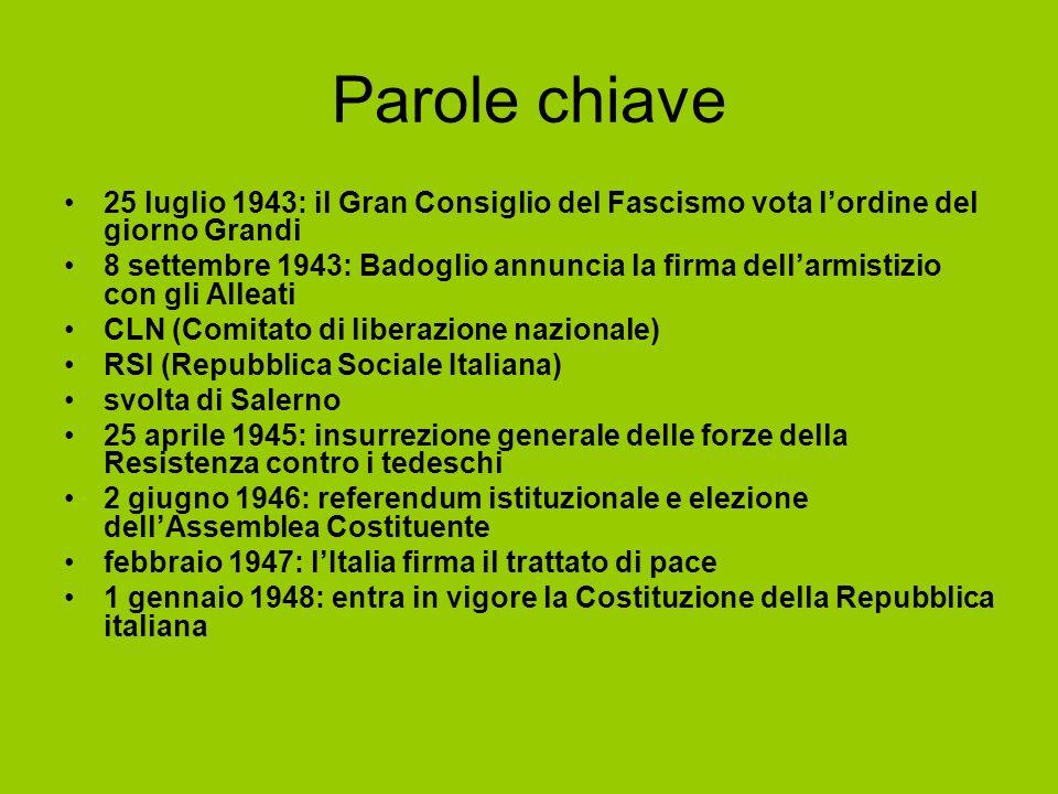 Parole chiave 25 luglio 1943: il Gran Consiglio del Fascismo vota l'ordine del giorno Grandi.