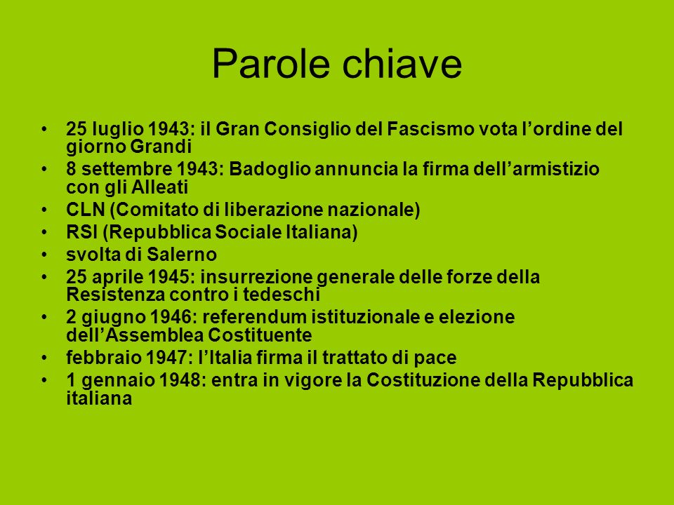 Parole chiave25 luglio 1943: il Gran Consiglio del Fascismo vota l'ordine del giorno Grandi.