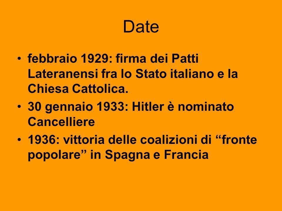 Date febbraio 1929: firma dei Patti Lateranensi fra lo Stato italiano e la Chiesa Cattolica. 30 gennaio 1933: Hitler è nominato Cancelliere.