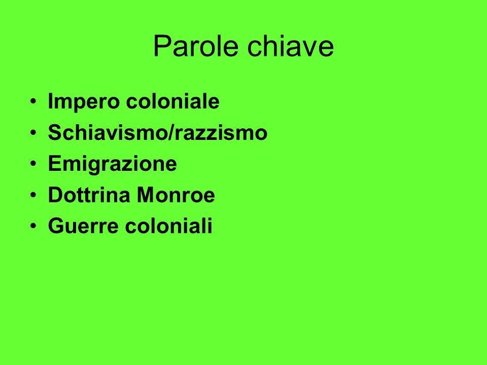 Parole chiave Impero coloniale Schiavismo/razzismo Emigrazione
