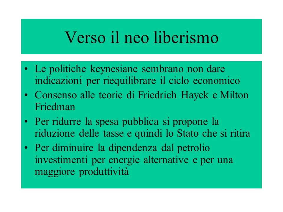 Verso il neo liberismo Le politiche keynesiane sembrano non dare indicazioni per riequilibrare il ciclo economico.