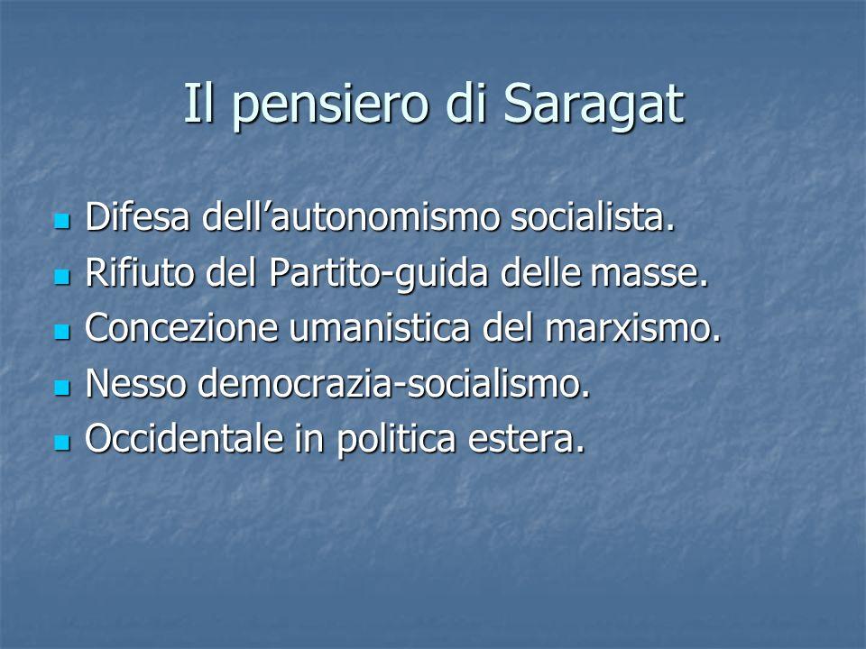 Il pensiero di Saragat Difesa dell'autonomismo socialista.