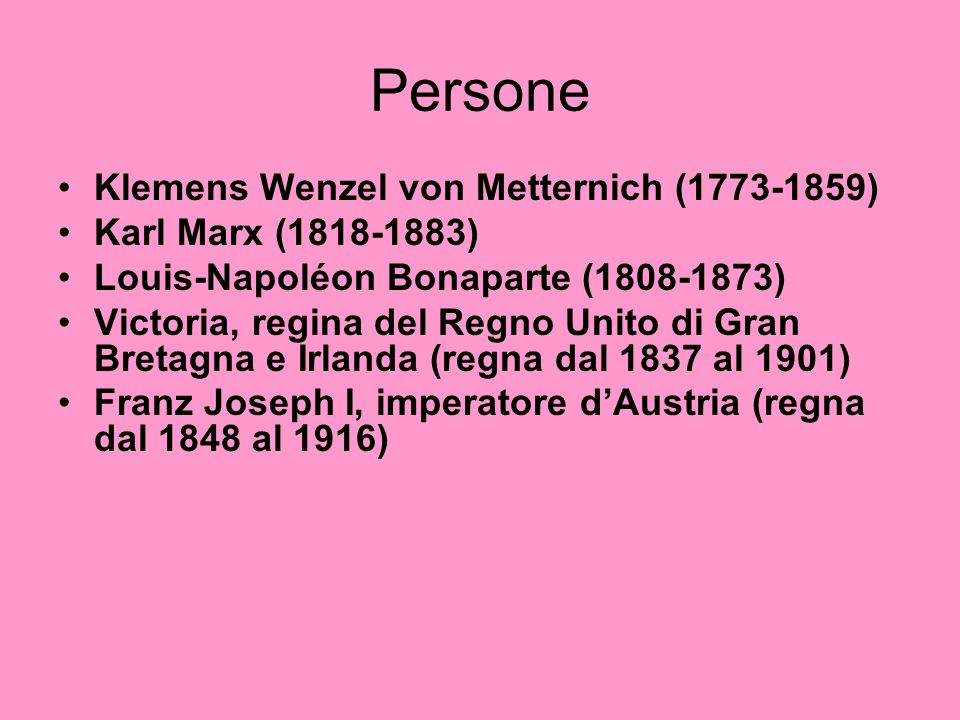 Persone Klemens Wenzel von Metternich (1773-1859)