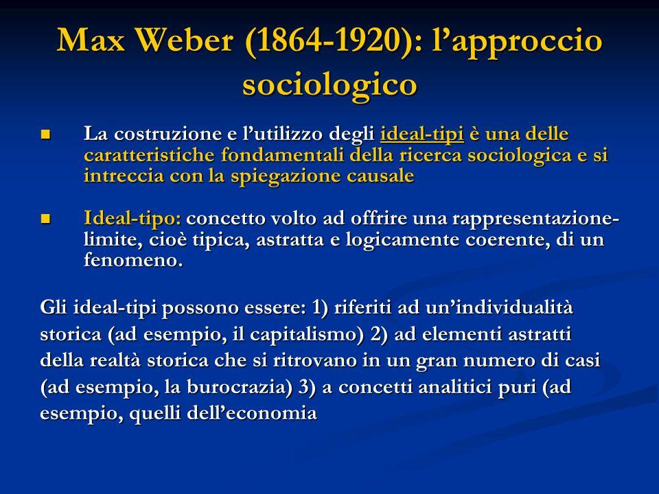 Max Weber (1864-1920): l'approccio sociologico