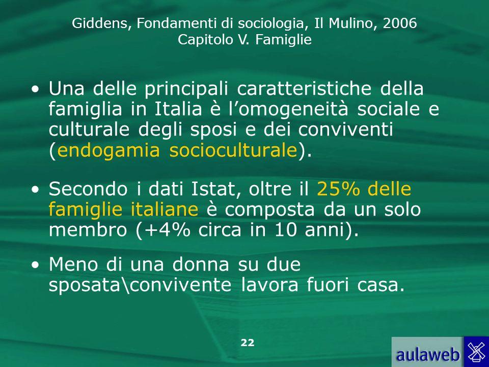 Una delle principali caratteristiche della famiglia in Italia è l'omogeneità sociale e culturale degli sposi e dei conviventi (endogamia socioculturale).