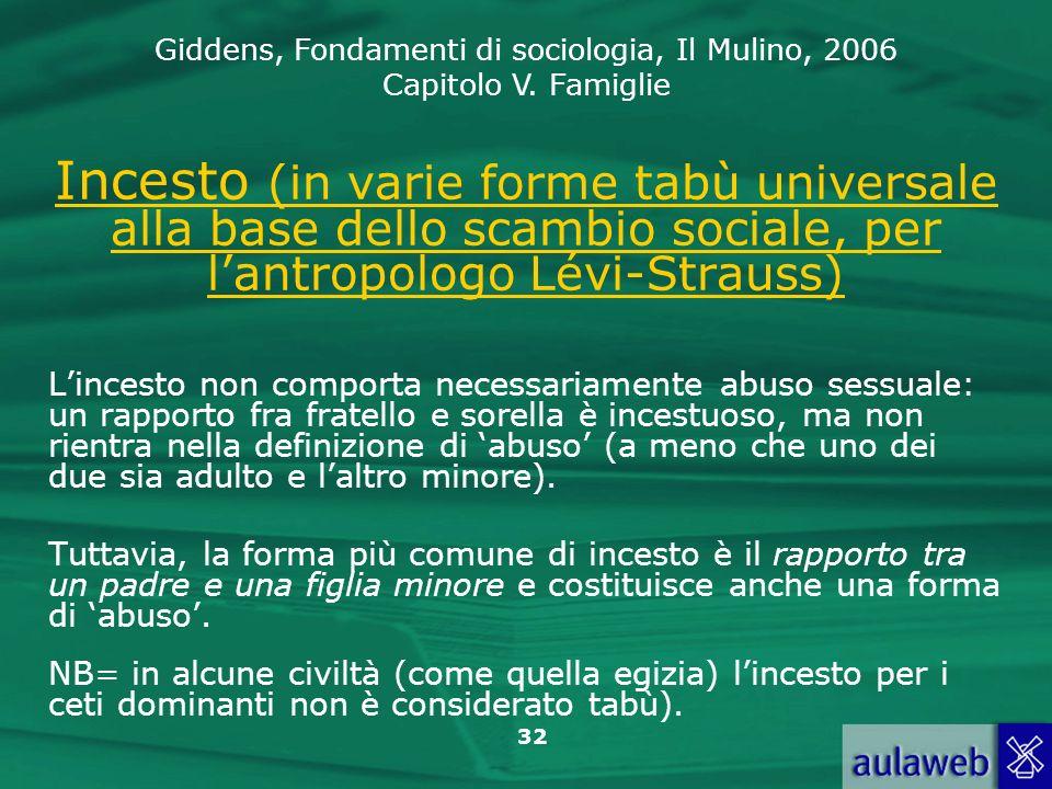 Incesto (in varie forme tabù universale alla base dello scambio sociale, per l'antropologo Lévi-Strauss)