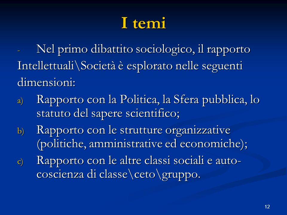 I temi Nel primo dibattito sociologico, il rapporto