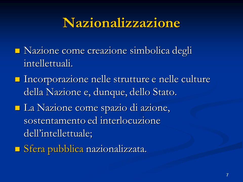 Nazionalizzazione Nazione come creazione simbolica degli intellettuali.