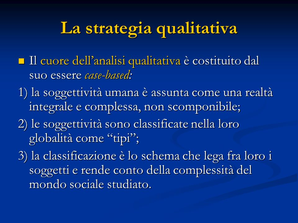 La strategia qualitativa
