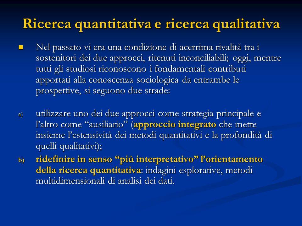 Ricerca quantitativa e ricerca qualitativa