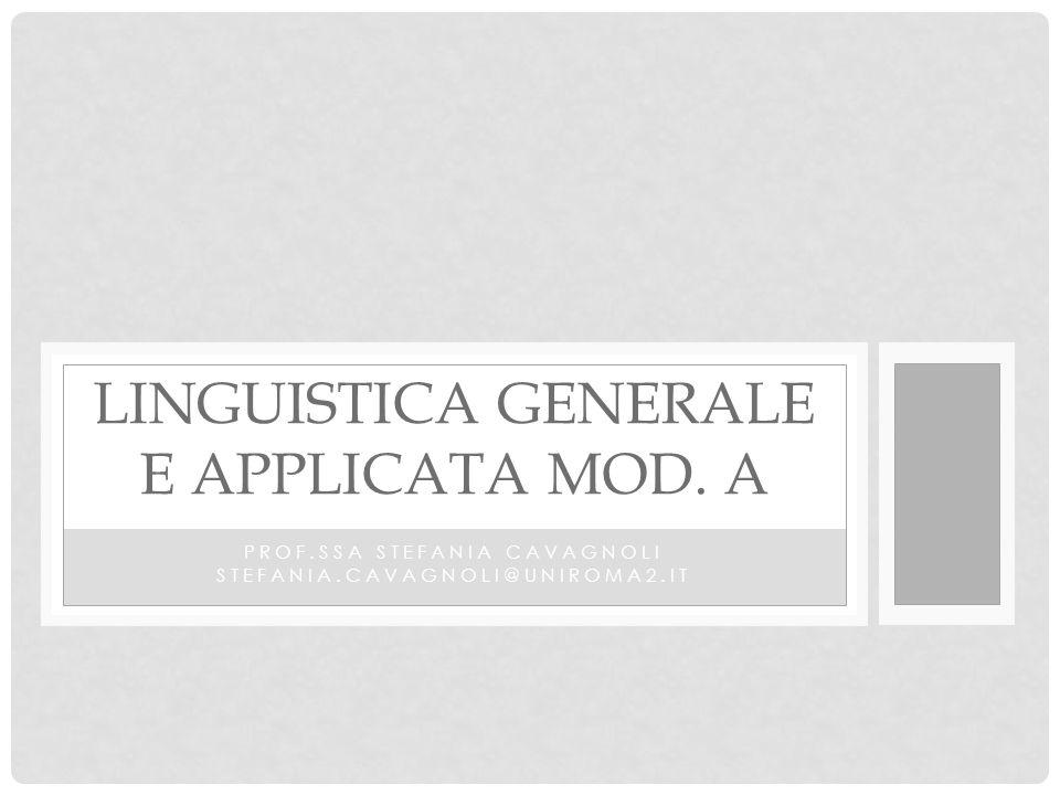 Linguistica generale e applicata Mod. A