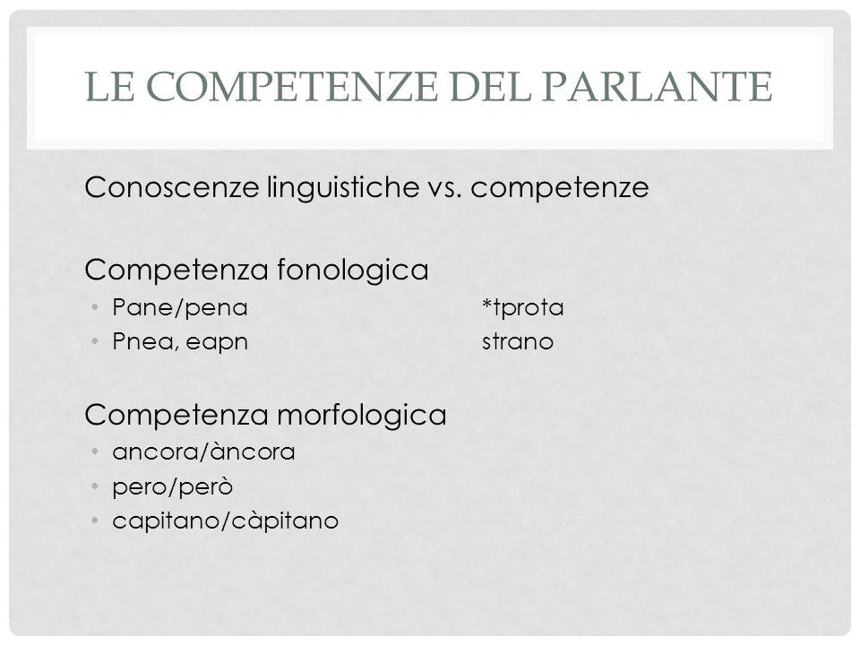 Le competenze del parlante