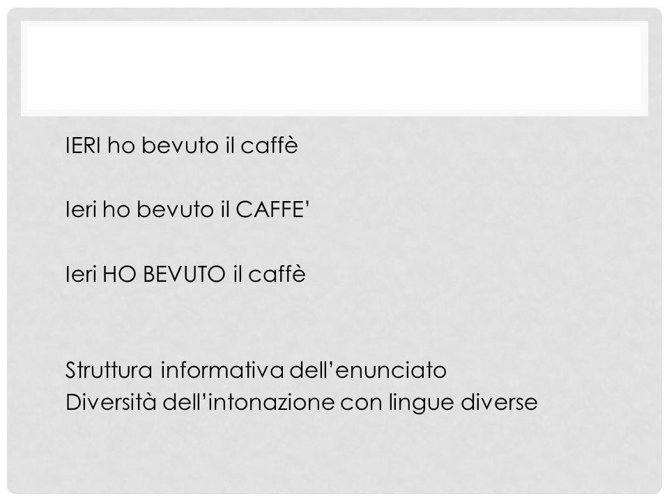 IERI ho bevuto il caffè Ieri ho bevuto il CAFFE' Ieri HO BEVUTO il caffè. Struttura informativa dell'enunciato.