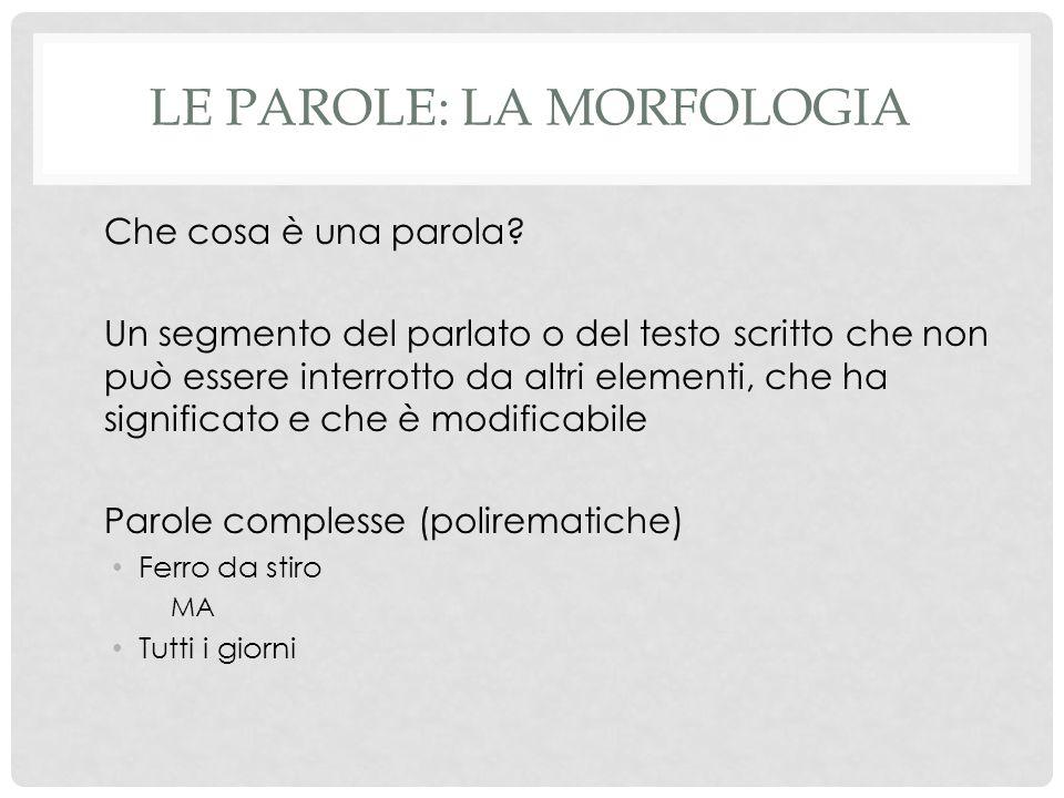 Le parole: la morfologia