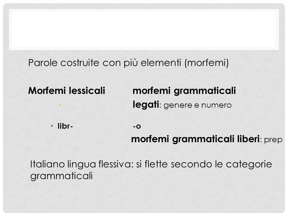 Parole costruite con più elementi (morfemi)
