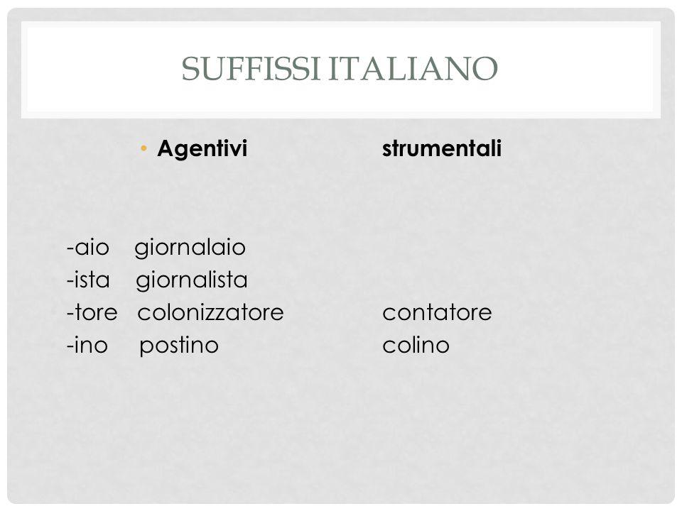 Suffissi italiano Agentivi strumentali -aio giornalaio