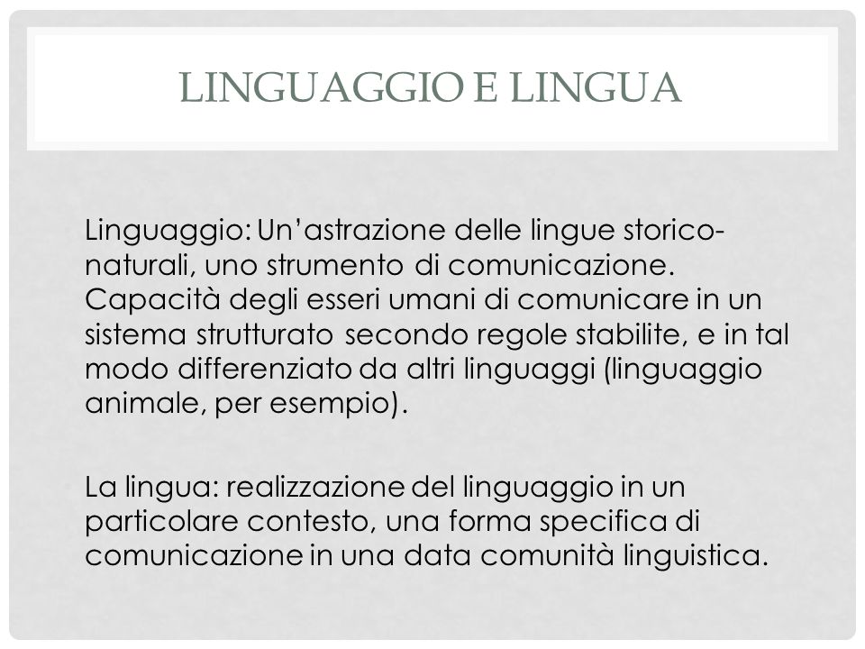 Linguaggio e lingua