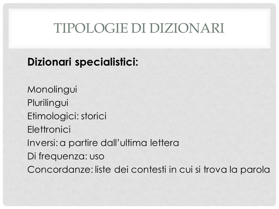 Tipologie di dizionari