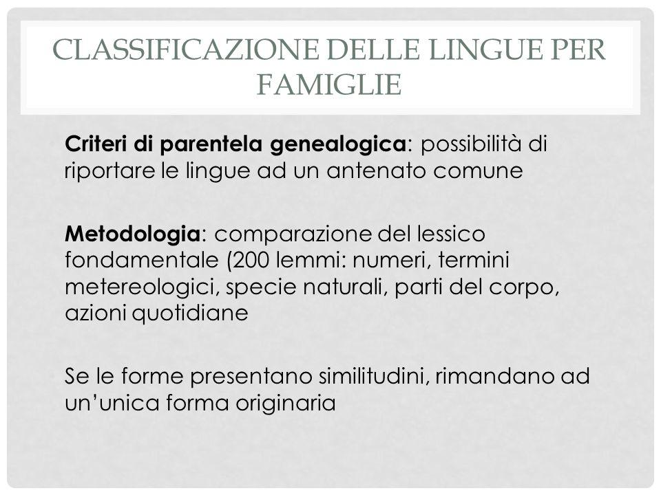 Classificazione delle lingue per famiglie