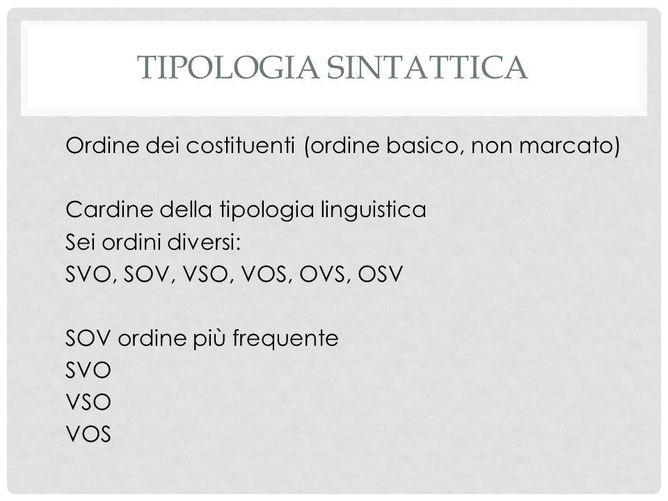 Tipologia sintattica Ordine dei costituenti (ordine basico, non marcato) Cardine della tipologia linguistica.