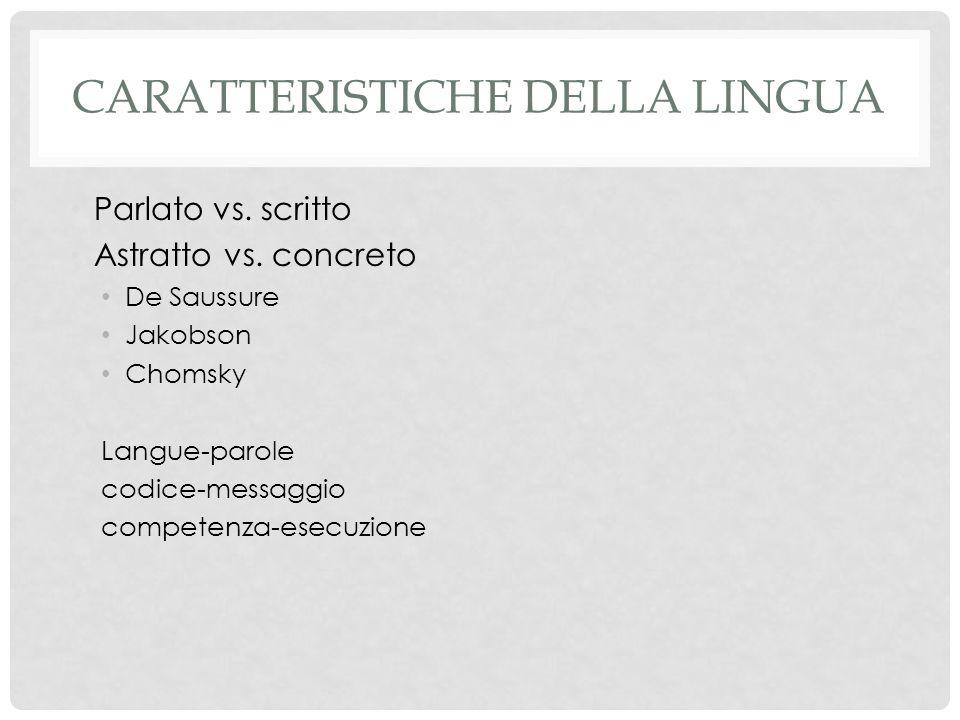 Caratteristiche della lingua