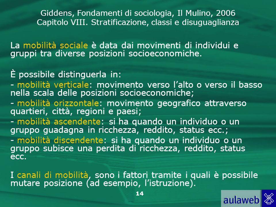 La mobilità sociale è data dai movimenti di individui e gruppi tra diverse posizioni socioeconomiche.