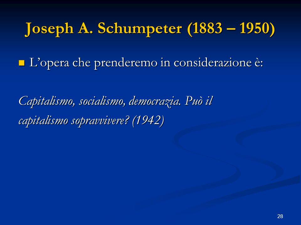 Joseph A. Schumpeter (1883 – 1950)