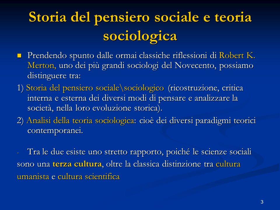 Storia del pensiero sociale e teoria sociologica