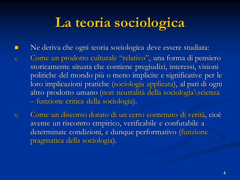 La teoria sociologica Ne deriva che ogni teoria sociologica deve essere studiata: