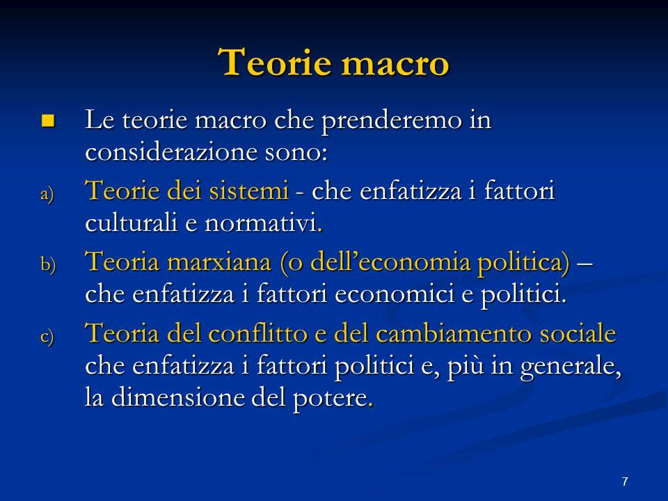 Teorie macro Le teorie macro che prenderemo in considerazione sono: