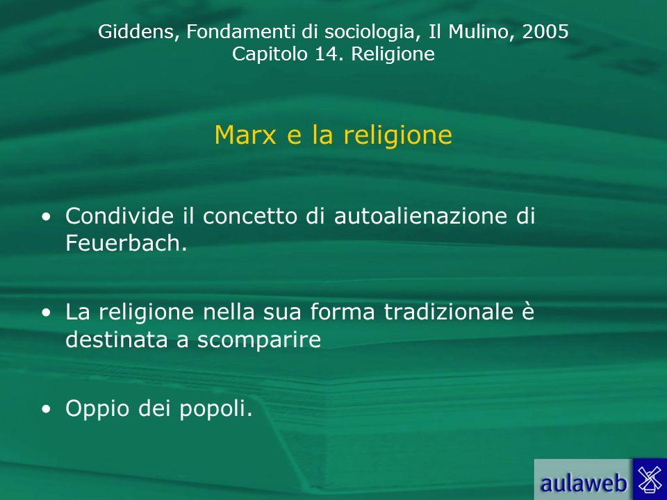 Marx e la religione Condivide il concetto di autoalienazione di Feuerbach. La religione nella sua forma tradizionale è destinata a scomparire.