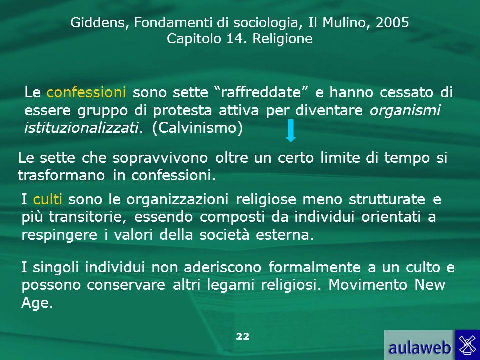 Le confessioni sono sette raffreddate e hanno cessato di essere gruppo di protesta attiva per diventare organismi istituzionalizzati. (Calvinismo)
