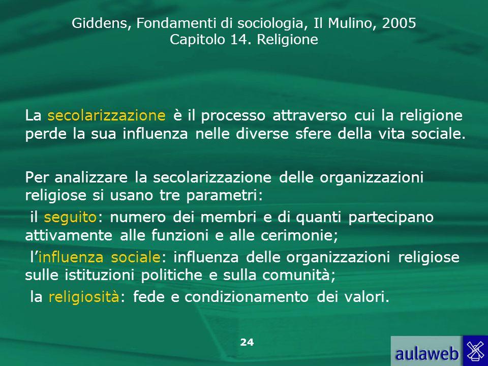 La secolarizzazione è il processo attraverso cui la religione perde la sua influenza nelle diverse sfere della vita sociale.