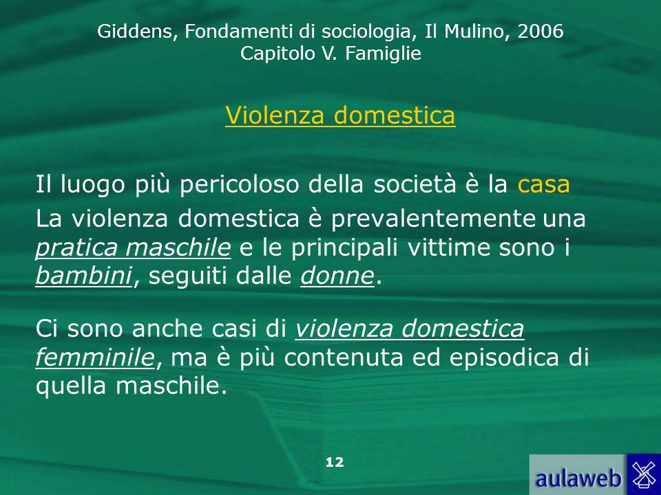 Violenza domestica Il luogo più pericoloso della società è la casa.